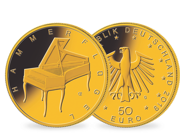 Die zweite neue deutsche 50-Euro-Goldmünze Hammerflügel 2019 aus der Serie Musikinstrumente