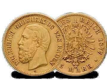 Deutsches Reich/Baden 5 Mark 1877 Friedrich I.