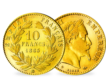 Frankreich 10 Francs 1855-1860 Napoleon III. o. Kranz