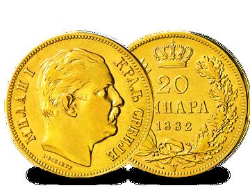 Serbien 20 Dinare 1882 Milan I.