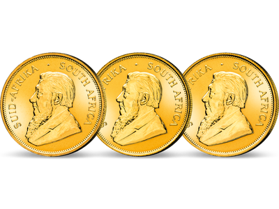 Das kostbare Gold-Set vereint die ersten drei Krügerrand-Jahrgänge 1967 bis 1969.