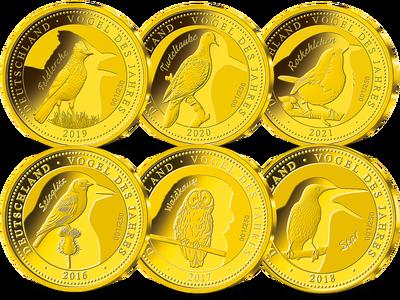 """Die sechs Gold-Jahresausgaben """"Vogel des Jahres 2016-2021"""" im Komplettsatz"""