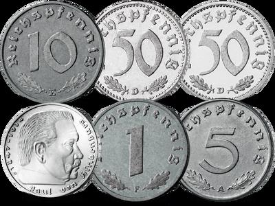 """2 Reichsmark """"Paul von Hindenburg"""" und Kursmünzen zu 1, 5, 10 und zweimal 50 Reichs-Pfennig"""