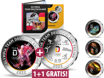 Die offiziellen Silber-Gedenkprägungen zu Olympia Team Deutschland Peking 2022