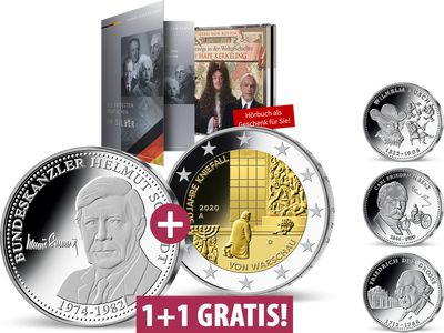 """""""Die größten Deutschen"""" in edlem Silber – """"Helmut Schmidt"""" & 2-Euro-Gedenkmünze"""