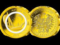 Auf dem Wasser – die Goldprägung zur deutschen 10-Euro-Polymer-Münze 2021