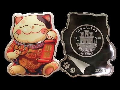 """Offizieller Glücksbringer: die 10-Gramm-Feinsilber-Gedenkmünze """"Lucky Kitten"""" mit Farbveredelung!"""