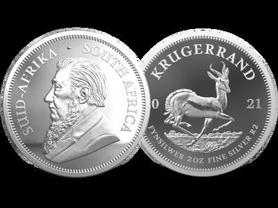 Südafrika 2021: 2 Unzen Krügerrand Silber