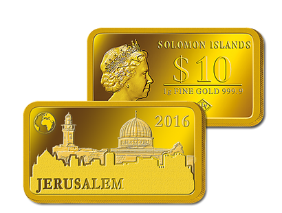 "Gold-Barrenmünze - ""Jerusalem - Felsendom"""