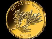 """20-Euro-Goldmünze 2013 """"Kiefer""""; Prägezeichen"""