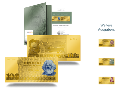 "Die Goldnoten-Kollektion ""Die Banknoten der DDR in reinstem Gold"""