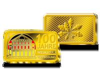 """Gold-Ergänzungsbarren zur 20-Euro-Farbmünze """"100 Jahre Weimarer Reichsverfassung"""" 2019"""