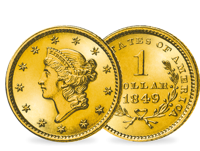 Der allererste Dollar in Gold − USA 1 Dollar 1849 Liberty Head