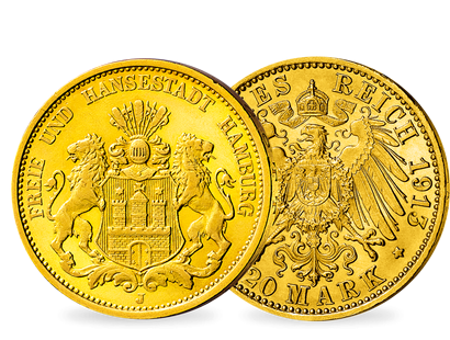 Hamburgs Stadtwappen in Gold − 20 Mark 1893-1913