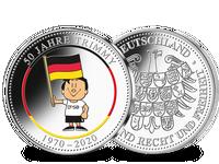 """Die offizielle Silber-Jubiläumsprägung """"50 Jahre Trimmy"""" mit Farbveredelung"""