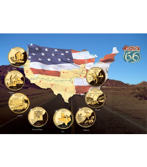 Set de 8 US quarters « Route 66 »