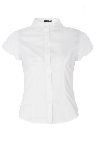 White Cotton Puff Sleeve Shirt