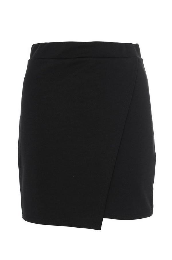Black Wrap Short Skirt