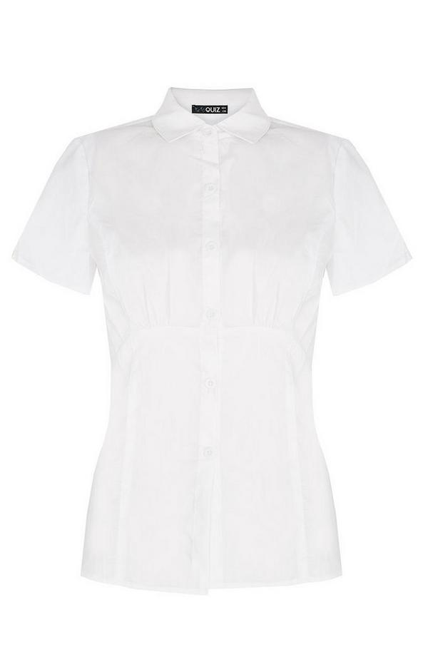 White Short Sleeve Blouse