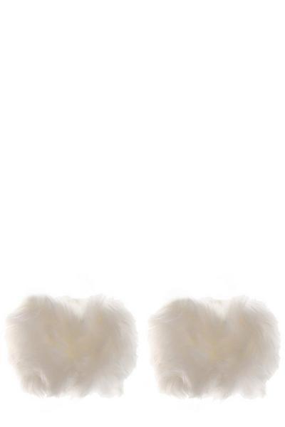 White Faux Fur Cuff