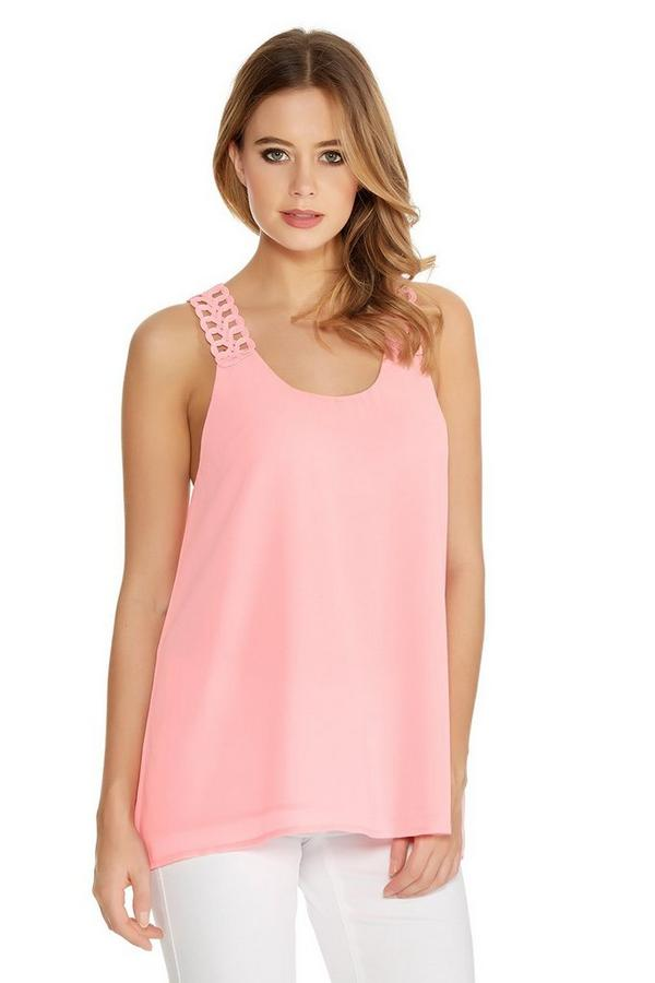 Pink Chiffon Double Later Crochet Back Swing Top