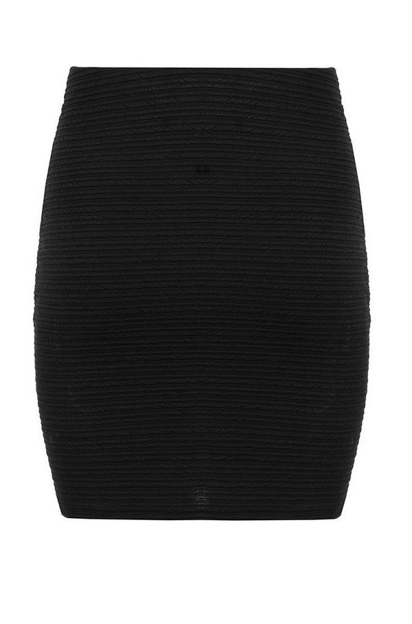 Black Textured Bodycon Skirt