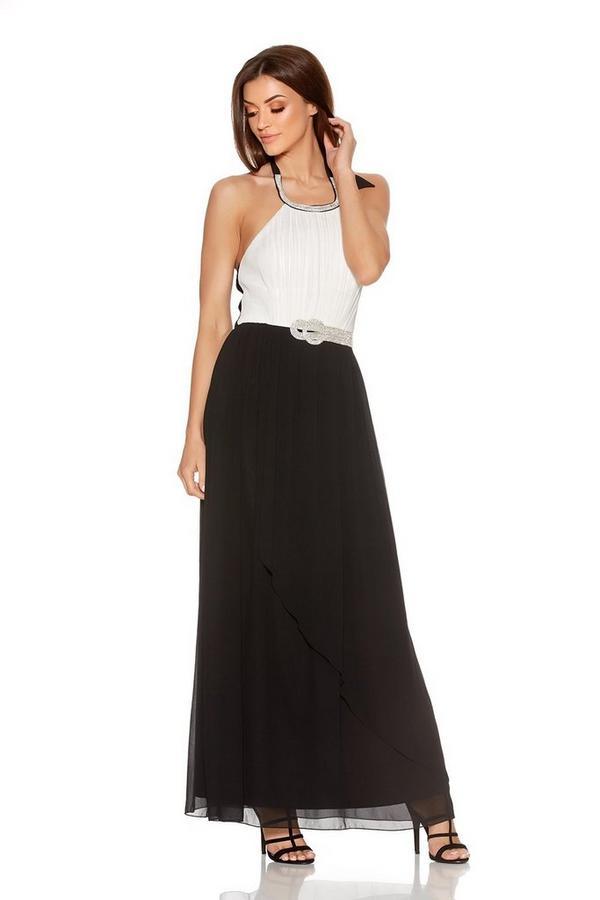 Cream Contrast Chiffon Diamante Neck Maxi Dress