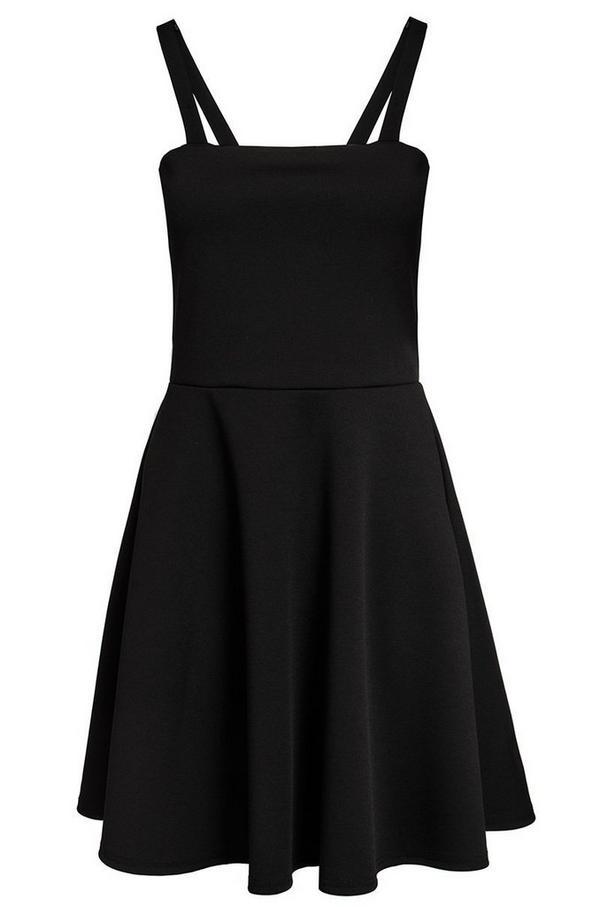 Black Pinafore Skater Dress