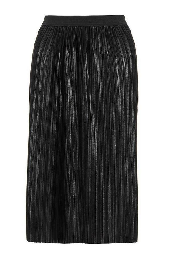 Black Pleated Metallic Foil Midi Skirt
