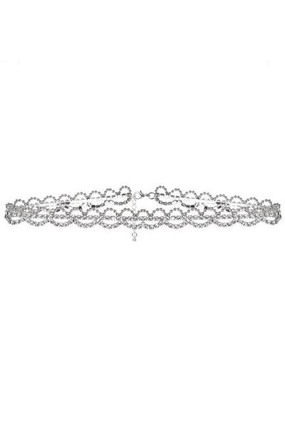 Silver Diamante Scallop Choker