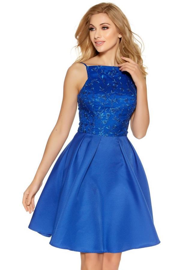 Royal Blue Sequin Embellished High Neck Short Dress
