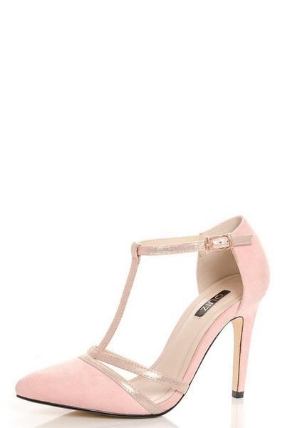 Pink Faux Suede Shimmer T-Strap Courts