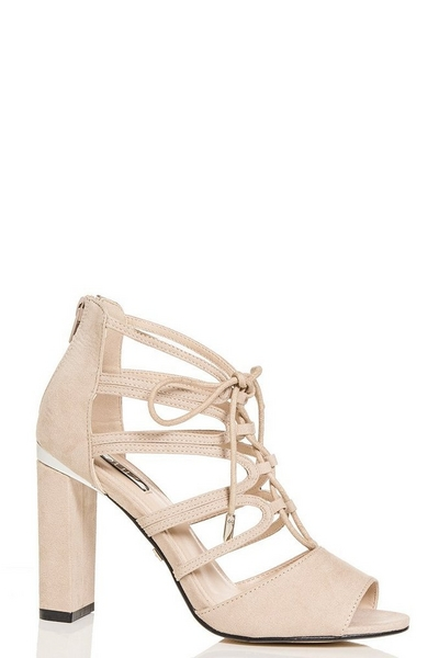 Nude Faux Suede Lace Up Block Heel Sandals