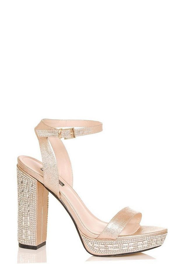 Rose Gold Metallic Diamante Heel Sandals