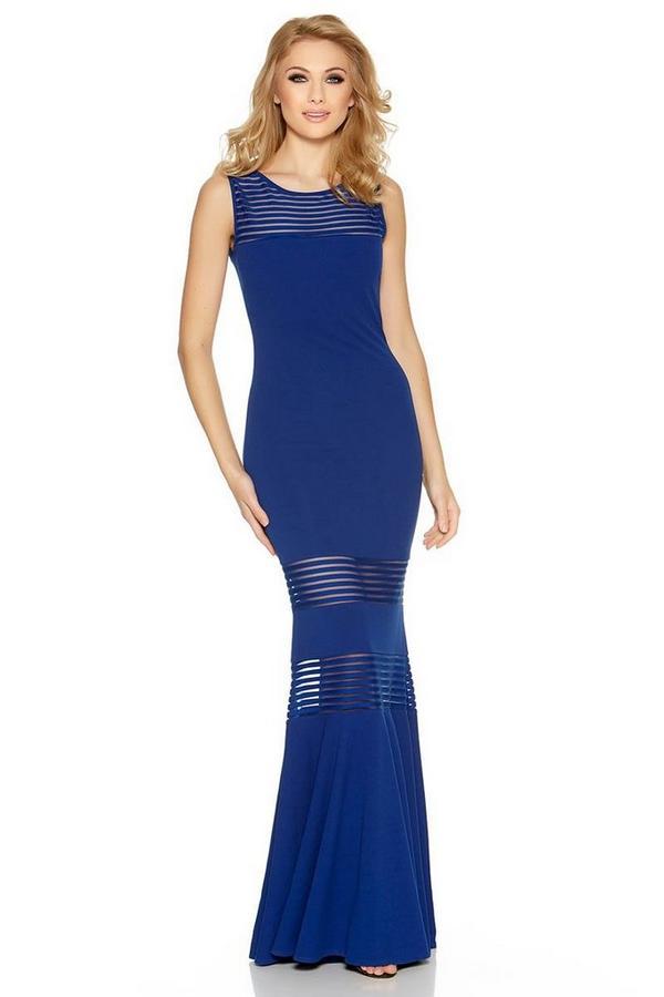 Royal Blue Mesh Insert Fishtail Maxi Dress