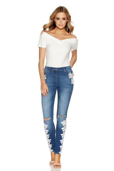 Blue Denim Crochet Detail Skinny Jeans