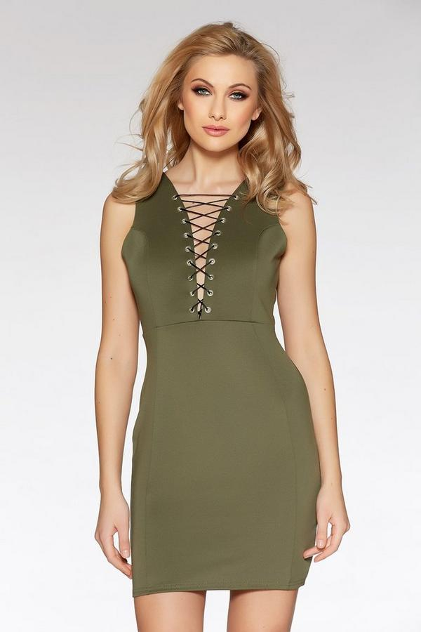Khaki Eyelet Lace Up Bodycon Dress