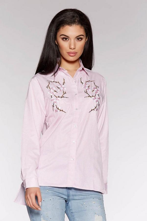Pink Stripe Embroidered Flower Shirt