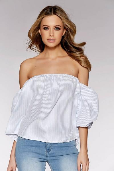 White And Blue Stripe Bardot Puff Sleeve Top