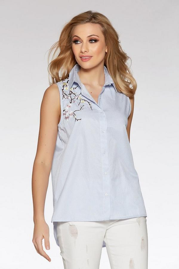 Blue Stripe Embroidered Sleeveless Top