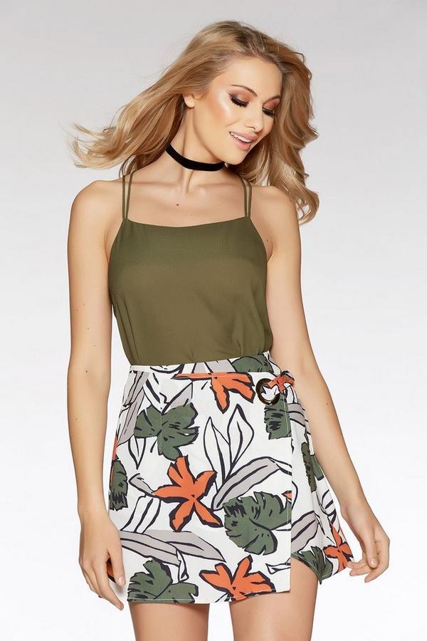 Cream And Khaki Tropical Print Skirt