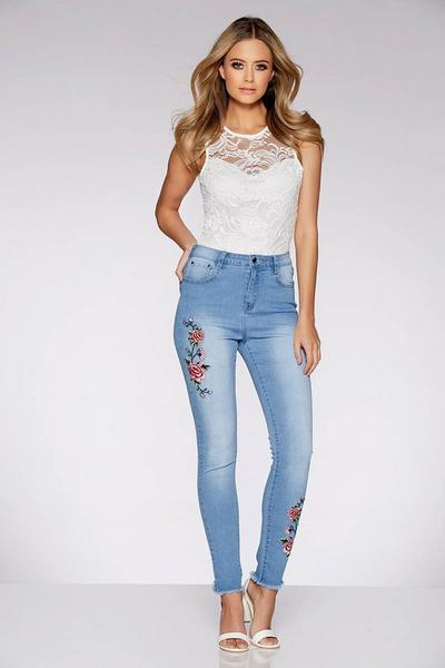 Light Blue And Red Embroidered Frayed Hem Jeans