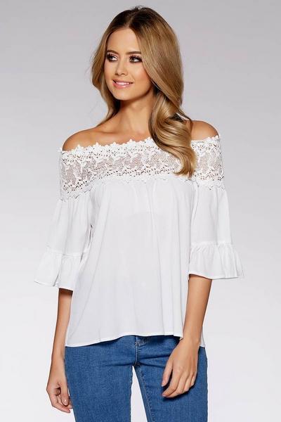 White Crochet Trim Bardot Top