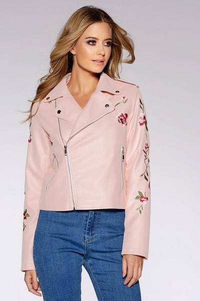 Pink PU Embroidered Biker Jacket