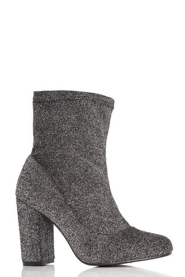 Grey Textured Block Heel Ankle Boots
