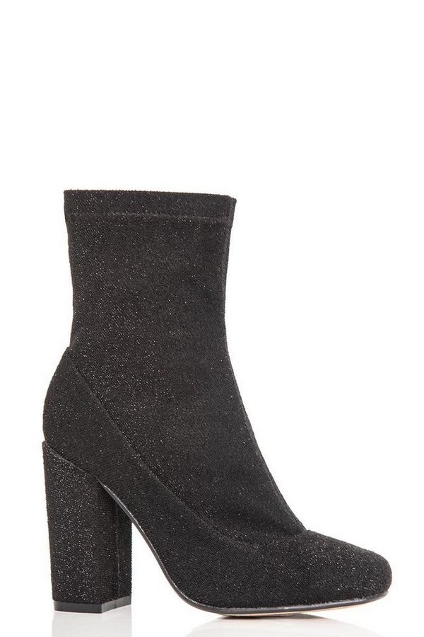 Black Textured Block Heel Ankle Boots