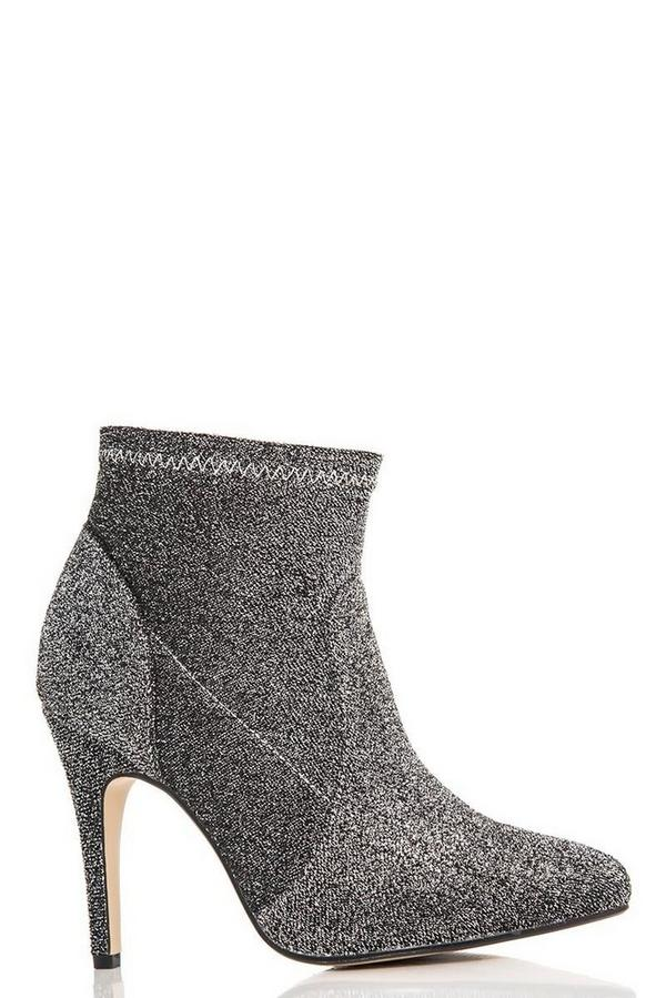 Grey Textured Pointed Ankle Boots