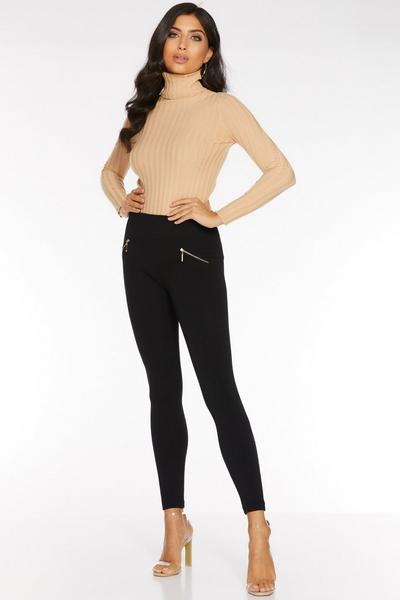 Black Fleece Lined Zip Detail Leggings