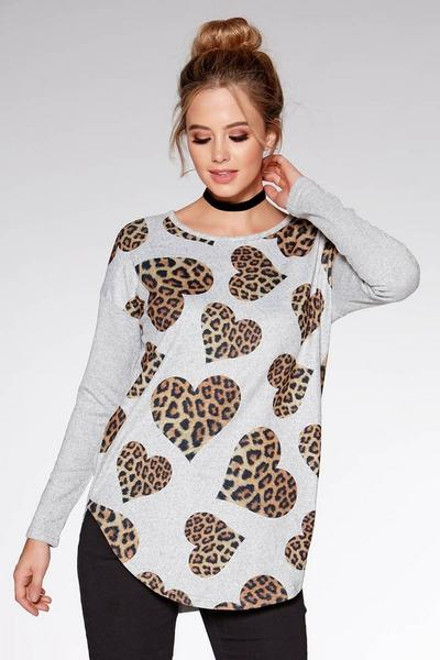 Grey and Beige Light Knit Leopard Heart Print Zip Back Top