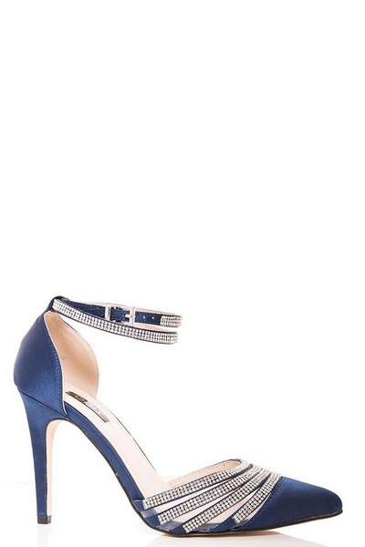 Navy Diamante Strap Point Court Shoes